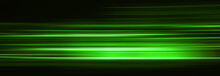 Abstract Green Light Trails In The Dark, Motion Blur Effect