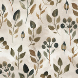 Watercolor illustration of brown leaves. Seamless pattern of dried leaves on beige background. - 243544821