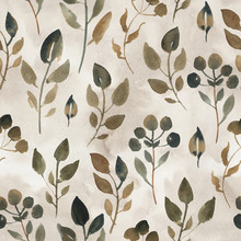 Watercolor Illustration Of Brown Leaves. Seamless Pattern Of Dried Leaves On Beige Background.