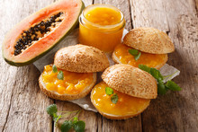 Breakfast Idea Rolls With Papaya Jam, Cream Cheese And Mint Close-up. Horizontal