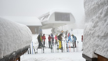 SOCHI, RUSSIA - JANUARY 14, 2019: A Big Line Of People To The Cabins On The Lift. Krasnaya Polyana