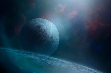 Blue moon rising over giant cold ice planet in outer space. Mysteriou sci-fi space illustration of cold frozen world