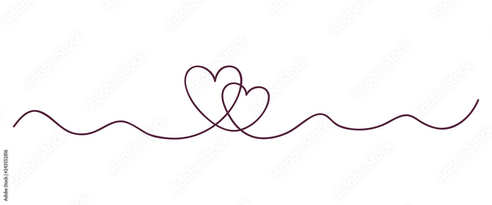 Fototapety, obrazy: Continuous line art drawing. Couple of hearts symbolize love. Abstract hearts woman and man. Vector illustration