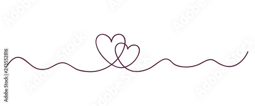 Continuous line art drawing. Couple of hearts symbolize love. Abstract hearts woman and man. Vector illustration