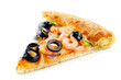 canvas print picture Pizza with shrimp, olives, green pepper and onion isolated