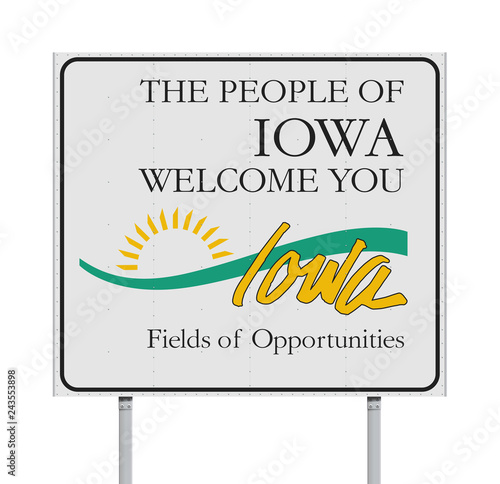 Welcome to Iowa road sign