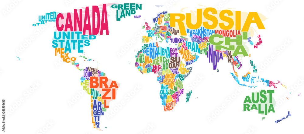 Fototapety, obrazy: World Map Word Cloud