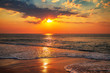canvas print picture - Beautiful sunrise over the sea