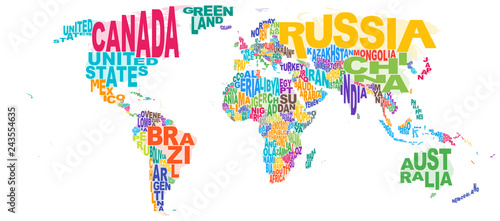 World Map Word Cloud Tapéta, Fotótapéta
