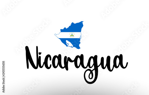Stampa su Tela Nicaragua country big text with flag inside map concept logo