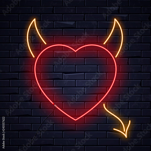 Illuminated Neon Heart Devil Horns Tail Sign Frame Light Electric Banner Glowing Black Brickwall Background Valentines Day Sex Shop Bar Concept Neons Sign Heart Devil Shape Poster Signboard Billboard Buy This Stock Vector And Explore Similar Vectors At