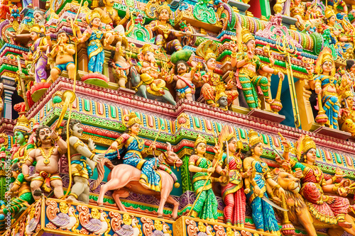 Fragment of decorations of the Hindu Sri Veeramakaliamman temple, Singapore