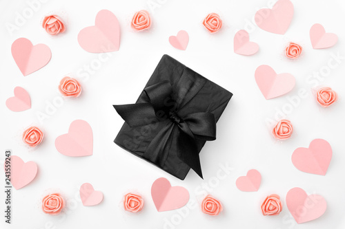 Valentines Day Composition Love Day Floral Background With Coral Or