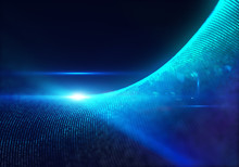 Blue Particles With Glow And Depth Of Field