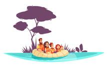 Family Active Holidays Raft Illustration