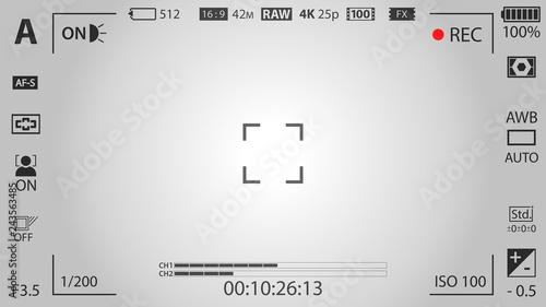Fototapeta  White modern digital camera focusing screen template with vignetting effect