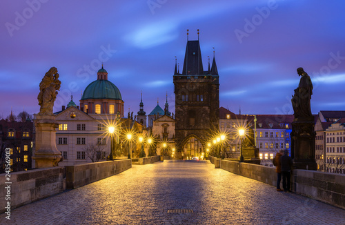 Poster Prague Morning view of Charles Bridge in Prague, Czech Republic. The Charles Bridge is one of the most visited sights in Prague. Architecture and landmark of Prague