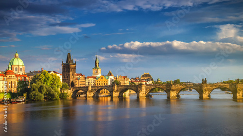 Recess Fitting Prague Scenic spring sunset aerial view of the Old Town pier architecture and Charles Bridge over Vltava river in Prague, Czech Republic