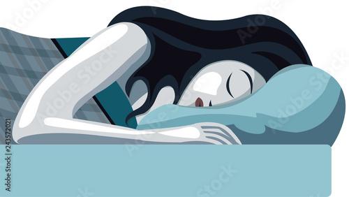 Fotografie, Obraz  Donna che dorme con la testa sul cuscino, letto e materasso
