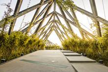 Metal Pedestrian Bridge At Araucano Park - Santiago, Chile