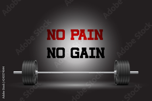Fotografia Beautiful realistic front view fitness vector banner of an olympic barbell with black iron plates on dark background and no pain no gain sign