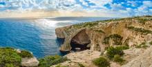 Blue Grotto, Malta. Natural Stone Arch And Sea Caves.
