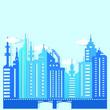 Vector paper cut illustration. Blue city landscape paper art in beautiful style on white background.Modern urban landscape.