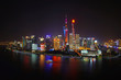 A night view of the modern Pudong skyline across the Bund in Shanghai, China