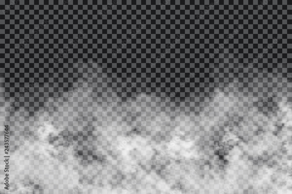 Fototapeta Smoke clouds on transparent background. Realistic fog or mist texture isolated on background. Transparent smoke effect
