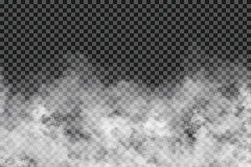 Smoke clouds on transparent background. Realistic fog or mist texture isolated on background. Transparent smoke effect