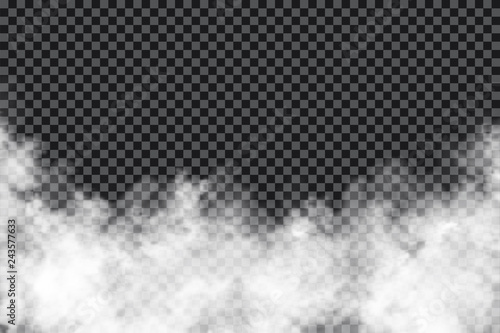 Poster Fumee Smoke clouds on transparent background. Realistic fog or mist texture isolated on background. Transparent smoke effect