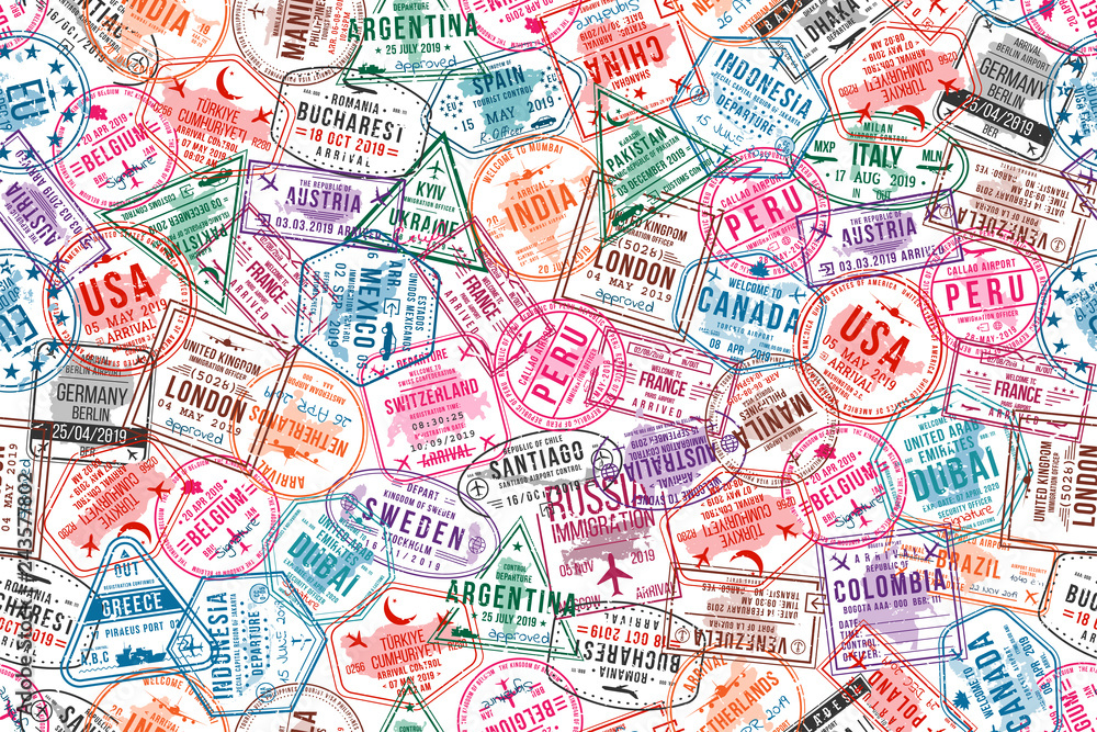 Fototapeta Passport visa stamps, seamless pattern. International and immigration office rubber stamps. Traveling and tourism concept background