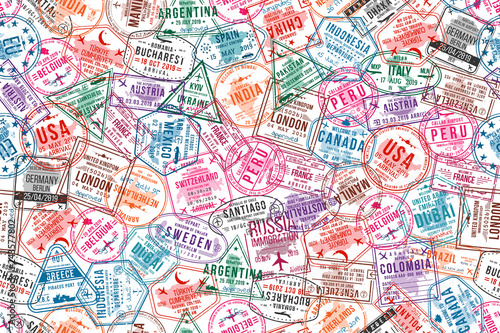 Passport visa stamps, seamless pattern. International and immigration office rubber stamps. Traveling and tourism concept background
