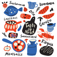 Taste Of Nord. Funny Hand Drawn Typographic Illustration Of Different Scandinavian Food And Kitchen Ware. Names Of Dishes. Vector.