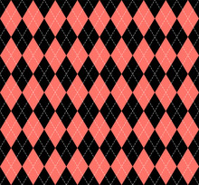 Argyle Plaid In Live Coral Col...