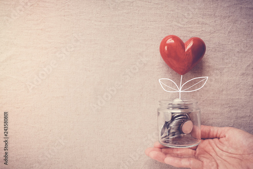 Tablou Canvas Hand holding a jar of heart tree growing on money coins,charity, social responsi