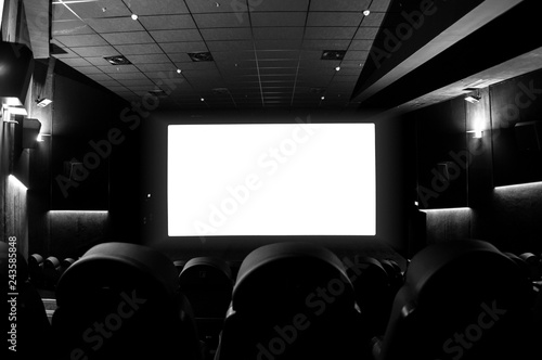 Photo  Empty cinema with white screen and comfortable chairs.