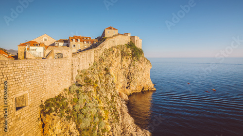 Deurstickers Centraal Europa Old town of Dubrovnik at sunset, Dalmatia, Croatia