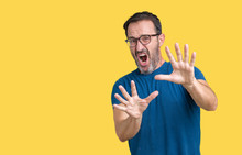 Handsome Middle Age Hoary Senior Man Wearin Glasses Over Isolated Background Afraid And Terrified With Fear Expression Stop Gesture With Hands, Shouting In Shock. Panic Concept.
