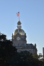 The Golden Dome Of Savannah City Hall In Georgia