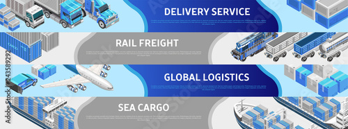 Foto  Composed isometric lines in webpage design presenting global logistics in variou