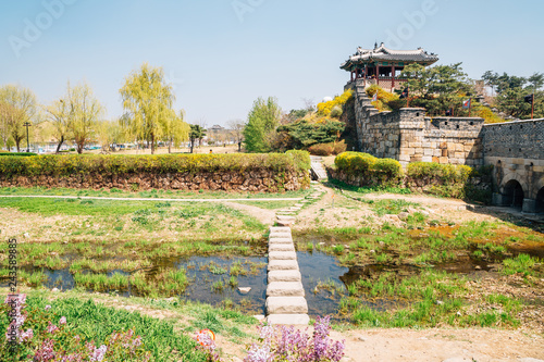 Foto  Hwaseong Fortress Banghwasuryujeong with spring flowers in Suwon, Korea