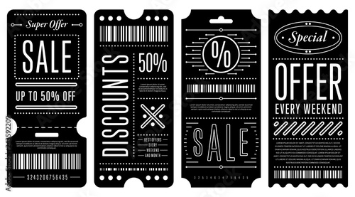 Photographie  Set of four black discount coupons with various white writings