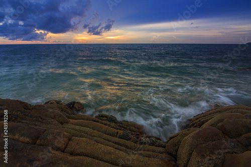 Foto op Canvas Cappuccino Amazing beautiful Nature of Sunset Over the Sea with Twilight Sky at Sabah Borneo