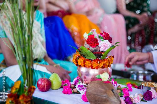Foto op Canvas India Indian pre wedding ceremony haldi ritual items close up