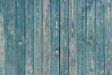 Old Blue Painted Vertical Wooden Planks, Background, Texture