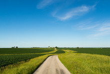 Country Road In The Rural Midwest.  Bureau County, Illinois, USA