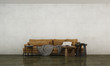 Leinwanddruck Bild - The modern loft living room and concrete wall texture background and brown leather sofa