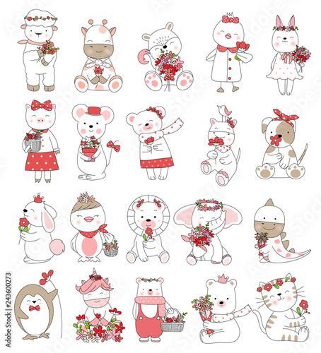 Printed kitchen splashbacks Illustrations Valentine's Day with cute baby animal cartoon hand drawn style