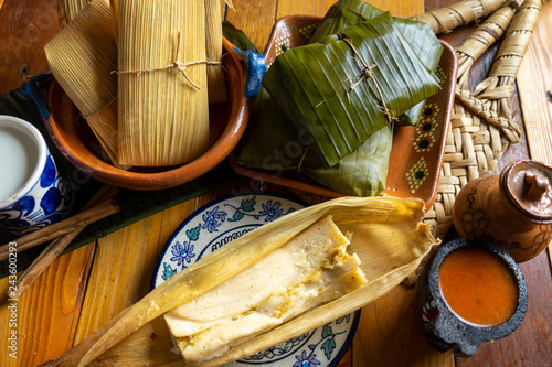 Mexican tamales in corn leaf